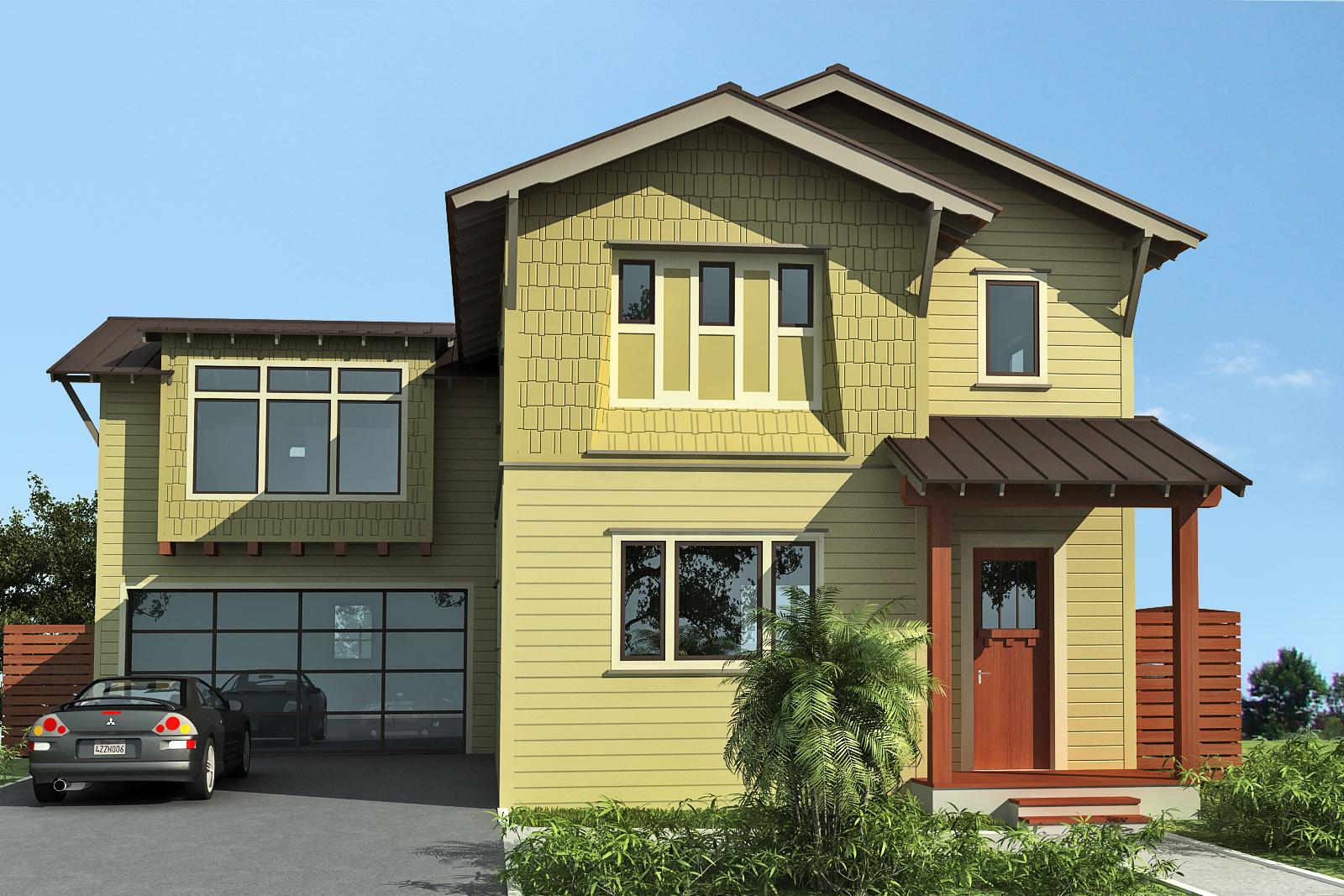Modern bungalow green button homes - Painting exterior render model ...