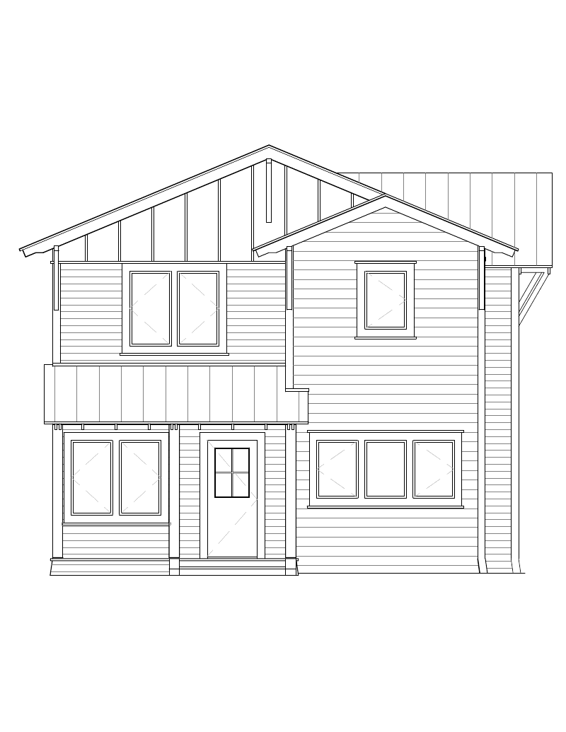 Modern House Front Elevation Drawing : Floorplans