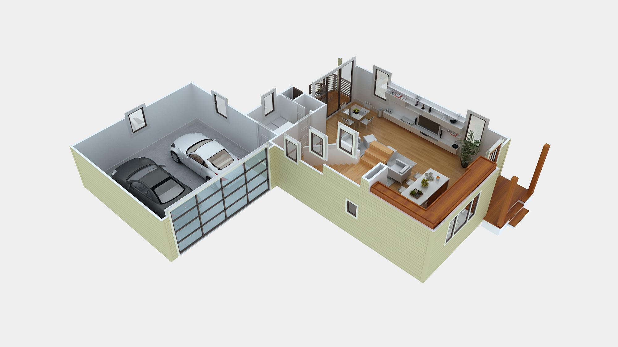 3D Modern House Floor Plans