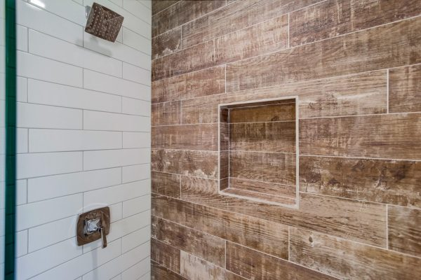 Reclaimed wood look tile - Green Button Homes